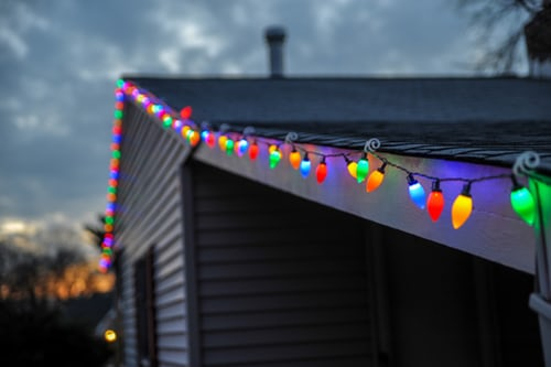 Seasonal Light Installation on roof in Muskegon, MI