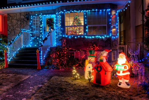 Christmas Lights on house with Santa and Snowman Lawn Decorations - New Seasonal Winter Business Opportunity