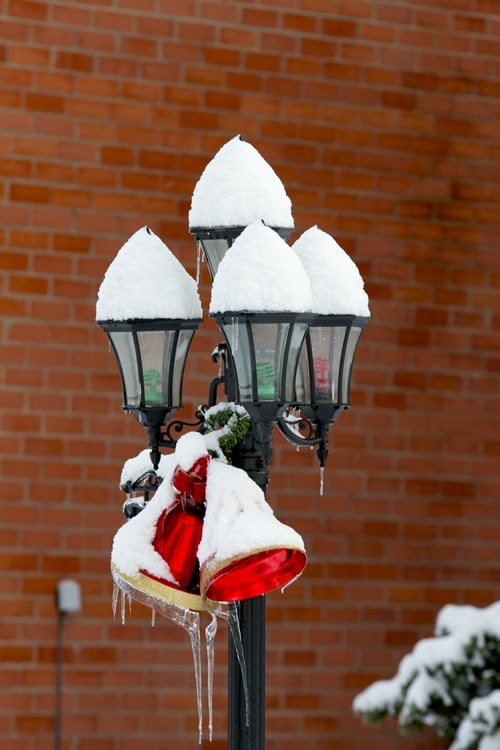 Festive street lamps in Portage, MI.  Put in by Christmas Light Installation Professionals